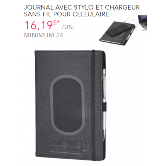 Journal with pen and wireless charger kit