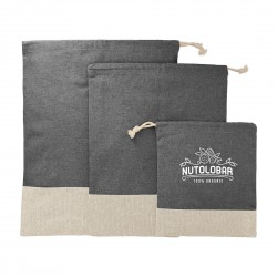Split Recycled 3pc Travel Cotton Pouch Set